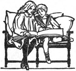 A black and white illustration of a mother and son reading a book on a chair""