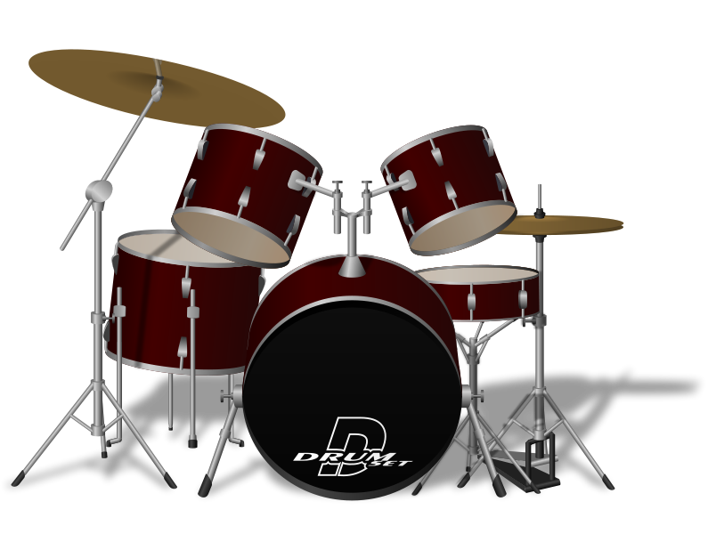 A graphic of a complete, seven piece, drum set