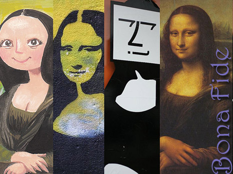 Four different artist's versions of the famous picture, 'Mona Lisa.' The original one has the caption 'Bona Fide.'