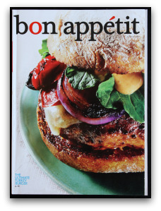 bon appetit magazine with a gourmet hamburger on the cover