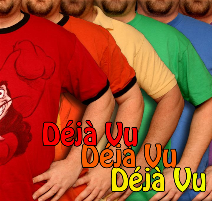 A brightly-colored picture of the exact same man six times, each time wearing a different color of T-shirt.