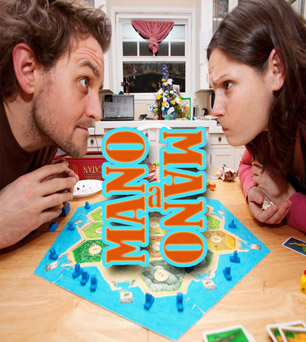 A husband and wife glare at each other angrily over a board game.