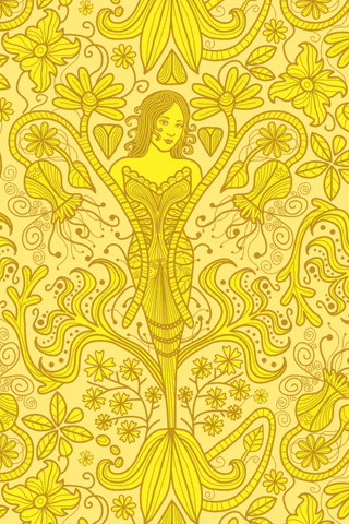 Photo Of Bright Yellow Wallpaper With The Image A Mermaid