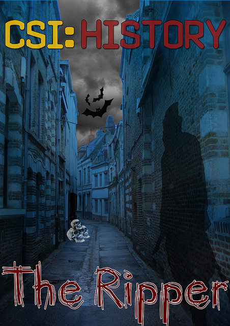 """A poster form CSI: History of """"The Ripper"""". It features Jack the Ripper's shadow on a 19th century London alley wall. There are also ominous clouds, bats and skulls present."""