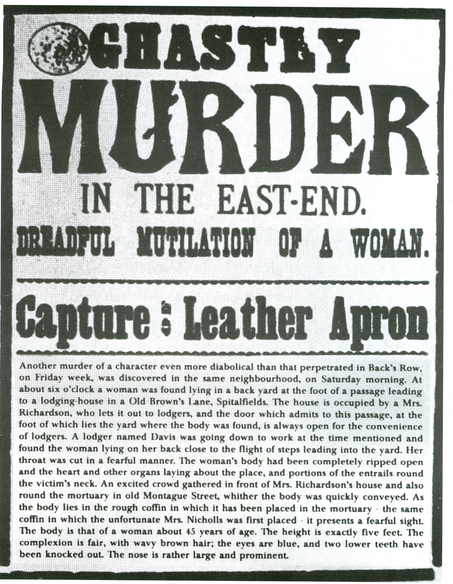 An image of a 19th century newspaper clipping about a 'ghastly murder' in the east-end of London.