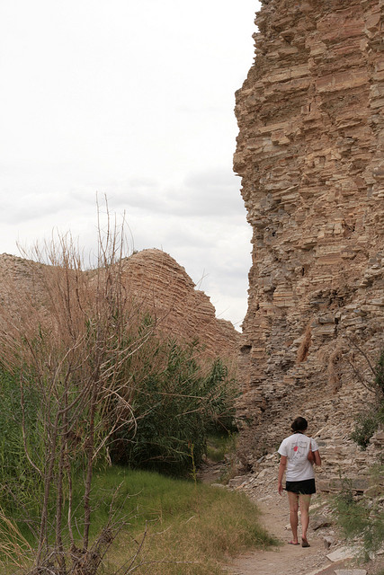 A photograph of a hiker on a trail in Big Bend National Park