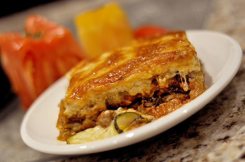 A photograph of a piece of lasagna on a plate