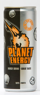 photo of a Planet Energy can; energy drink with comets and meteorites flying into an orange logo