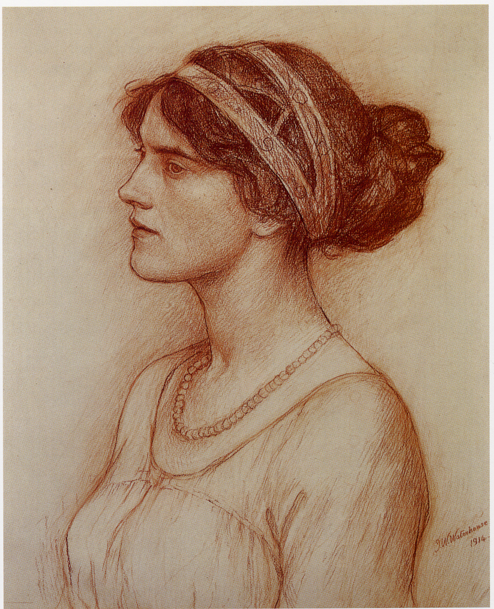 Red chalk drawing of a woman from the waist up wearing Victorian period, simple dress with hair pulled up and ribbon wrapping twice around her head.
