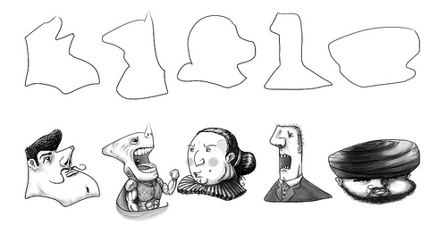 A collection of hand drawn cartoon characters. One is a pompous looking man with a curled moustache. Next to him is a half human, half shark superhero. Next to him is a matronly looking woman. Next to her is a man in a suit yelling. The last character is a heavy man in a turban with a full beard.