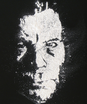 A photograph of a caricature of best-selling horror novelist Stephen King