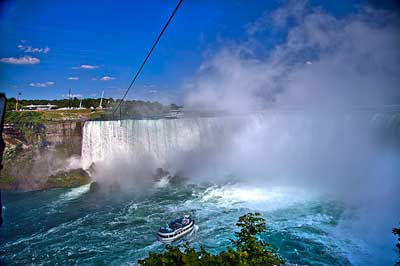 A tightrope suspended above Niagra Falls.