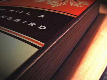 """photograph of the book """"To Kill a Mockingbird"""". Only part of the book is visible."""