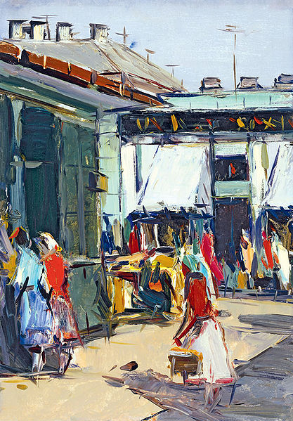 A painting of a street corner in early 20th century Russia; It shows small shop entrances and people walking in the streets.