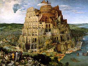 An image of the Tower of Babel showing a massive, but unfinished, tower. At its base and in the foreground of the picture, workers and their supervisors are arguing about how to finish their project.