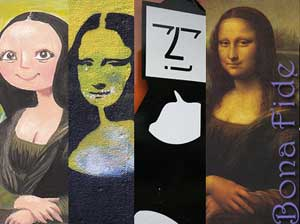 """Four different artist's versions of the famous picture, """"Mona Lisa."""" The original one has the caption """"Bona Fide."""""""