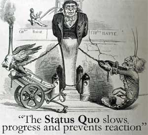 """A 19th century French political cartoon showing Progress represented as a little man with wings and wheels, charity as a tiny figure looking like a shabby shrimp. Both are chained to a figure that looks like he's half well-dressed government employee, half immovable building. The caption says """"The Status Quo slows progress and prevents reaction."""""""