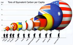 Infographic showing carbon per capita in several countries
