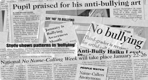 A collage of newspaper articles about bullies and bullying.