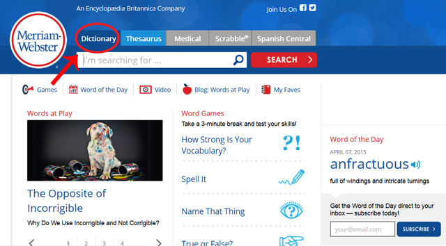 A screenshot of Merriam-Webster's dictionary site homepage