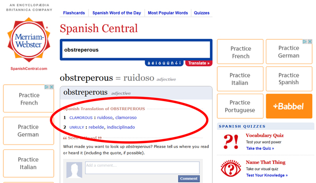 """Merriam-Webster's website with the Spanish-English tab selected and circled in red, and two hyperlink """"obstreperous"""" entries circled in red with an arrow pointing to it"""