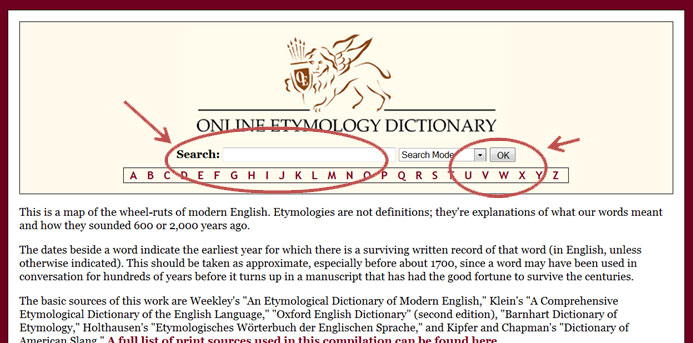 Homepage for the Online Etymology Dictionary, etymonline.com, with the search bar and drop-down search control circled in red each with an arrow pointing to it