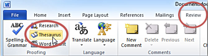 The tool tabs at the top of the Microsoft Word interface