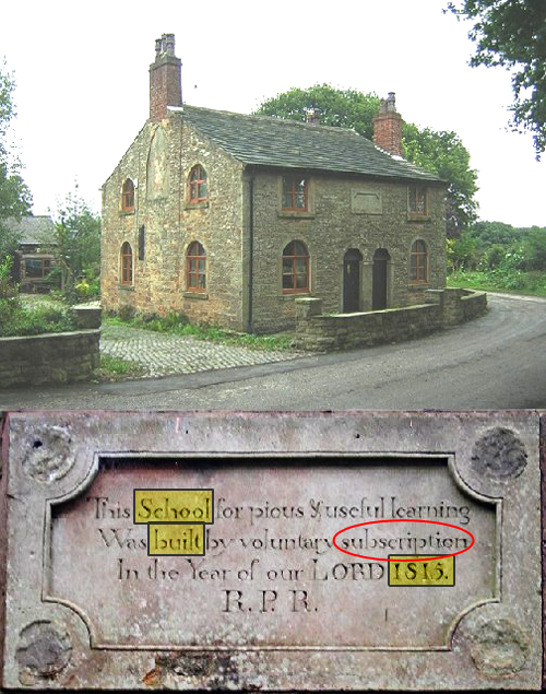 "photo a small stone school building with inscription of the building shown below it. The inscription reads: ""This school for pious and practical learning was built by voluntary subscription in the year of our lord 1815. R. P. R."" The words ""School,"" ""built,"" and ""1815"" are highlighted using photo revision software and ""subscription"" is circled."