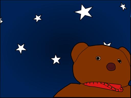A painting of a teddy bear against a starry sky