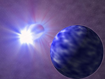 A painting of the star Vinea with a planet in the foreground