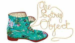 """An image of a shoe with the laces spelling ou the words """"the poetry object."""""""