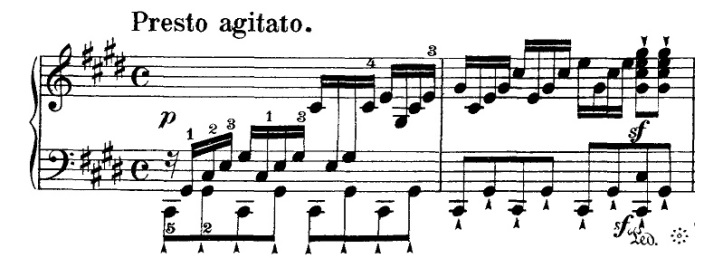 An image of a piece of sheet music. Shown is a single stanza of a line.