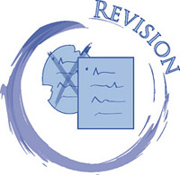 """a quick sketch showing two papers, one messy, the other clean. There is a swirl around both papers showing the word """"revision."""""""
