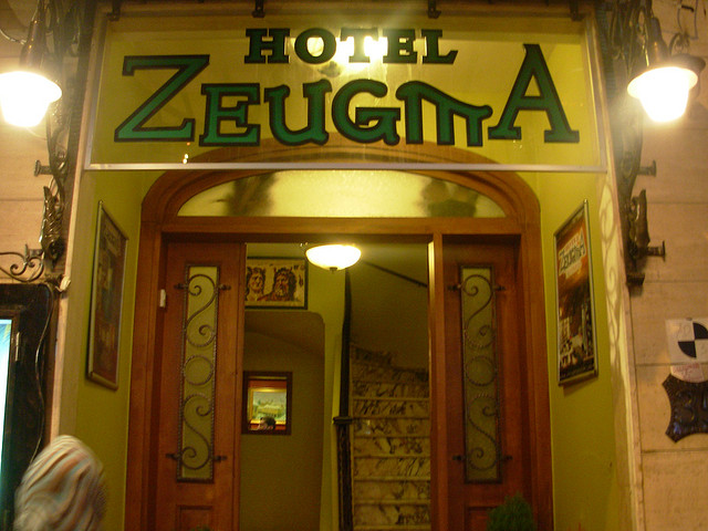 """Entryway to a hotel called """"Hotel Zeugma"""""""