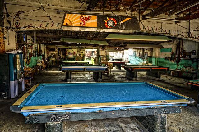 An empty pool hall