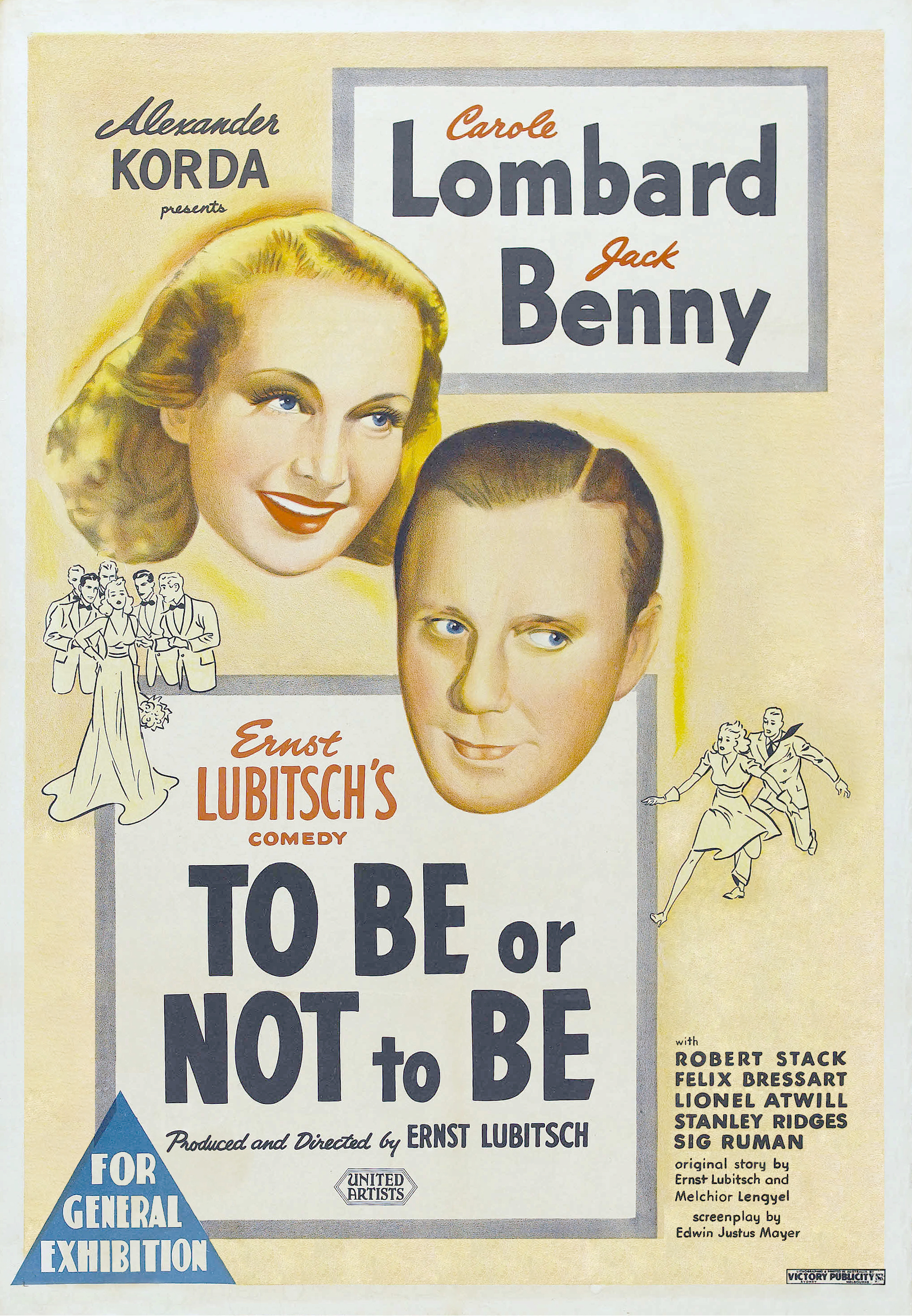 Poster for the film To Be or Not to Be, with all but a few of the words entirely in uppercase, or written in cursive with standard capitalization