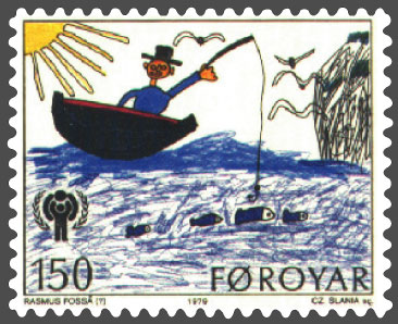 A stamp featuring a child's drawing of a quaint fisherman, from Faroe Islands