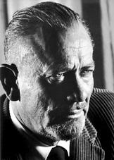 Black and white photo of John Steinbeck.