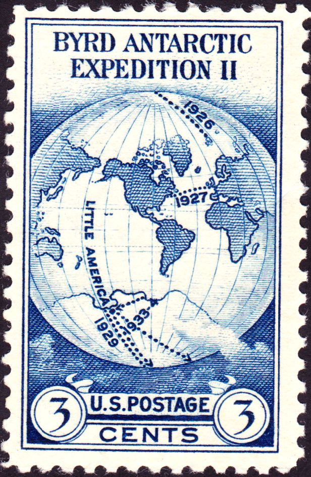 """A three-cent postage stamp with expeditionary paths marked on a globe illustration, attributing """"BYRD ANTARCTIC EXPEDITION II"""""""