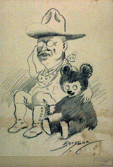 Sketch of Teddy Roosevelt with his arm around a teddy bear
