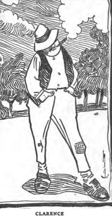 """Woodcut or engraved drawing of a man smoking a cigar, hands in pockets, labeled """"CLARENCE"""""""