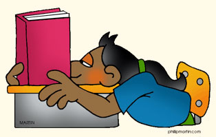 This is cartoon image of a girl with her head on a desk with book in front of her. She isn't reading actively.