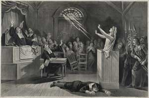The first picture shows a young woman in Salem, MA, on trial for being a witch.