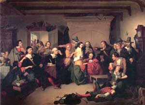 Alt tag: The second picture is shows how women were examined to determine if they were witches or not during the Salem Witch Trials.