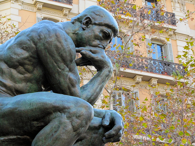 Photo of Auguste Rodin's sculpture called The Thinker