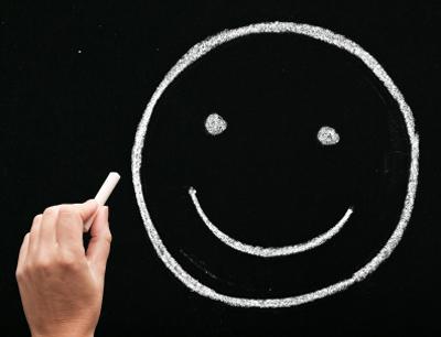 smiley face on a blackboard