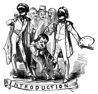 """Drawing of masked revelers with the word """"Introduction"""" beneath them"""