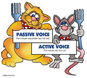 """Cartoon of a cat and a mouse each holding up a sign. Cat: """"Passive voice. The mouse was eaten by the cat."""" Mouse:""""Active voice. The mouse ate the cat."""""""