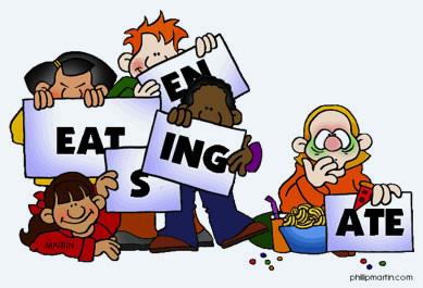 "Cartoon of children holding up signs: ""eat,"" ""en,"" ""s,"" ""ate,"" ""ing."""