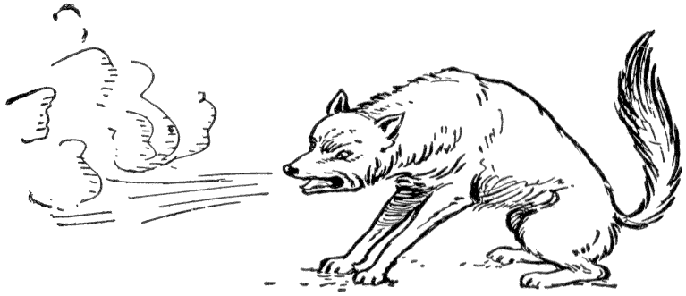 A black and white drawing of a wolf huffing and puffing